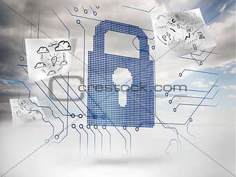 Big padlock with circuit board and drawings floating around