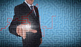 Businessman selecting a labyrinth