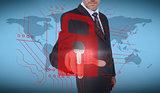 Businessman selecting a red padlock