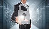 Businessman selecting a futuristic padlock