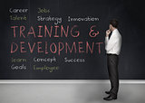 Training and development terms written on a blackboard