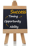 Success terms written on a blackboard