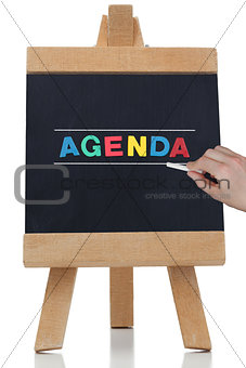 Agenda written in colored letters