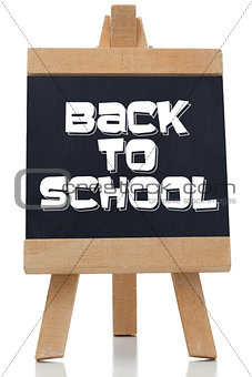 Back to school written in white on chalkboard