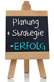 Planning strategy written on blackboard in german