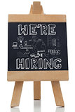 We are hiring written with a chalk