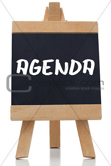 Agenda written in white