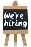 We are hiring written with a chalk on blackboard