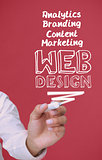 Businessman holding a marker and writing web design