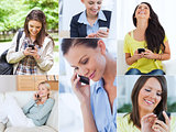 Collage of women using their cell phone