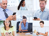 Collage of pictures showing people using their mobile phone