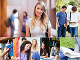 Collage of students at the university