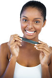 Cheerful woman holding nail file