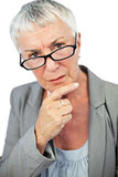 Thinking mature woman wearing glasses