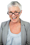 Smiling mature woman wearing glasses