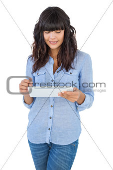 Cute woman using tablet pc