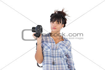 Beautiful woman with her camera