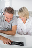 Happy couple using their laptop in the morning