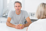 Couple chatting in the morning