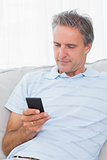 Man relaxing on his sofa sending a text