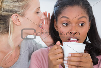 Blonde woman whispering secret to her friend