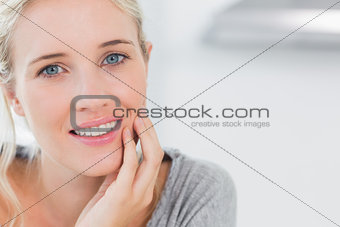 Atrractive blonde woman smiling