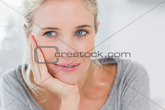 Atrractive blonde woman thinking