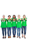Team of happy female environmental activists giving thumbs up