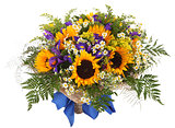 Floral arrangement of sunflowers, daisies, ferns and goldenrod.