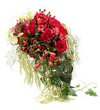Flower Arrangement with red roses and decorative Hypericum. Flor