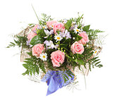 Floral composition, bouquet of white daisies and pink roses. Flo