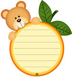 Label with teddy bear eating orange