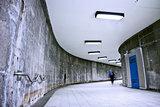 Underground Grunge metro corridor - one person