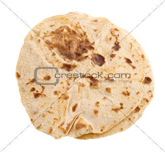 Chapatti roti isolated