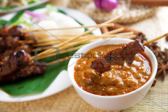 Satay skewered and grilled meat