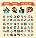 Outline Grunge Web Icons Set