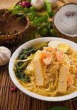 singapore prawn mee, prawn noodles