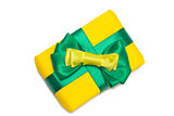 Yellow gift box with green ribbon