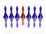 Conceptual image of false leadership. Chess