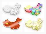 Map of China. 3d