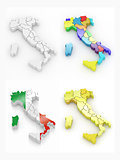 Three-dimensional map of Italy on white isolated background