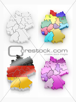 Three-dimensional map of Germany on white isolated background