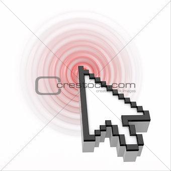 Click. Computer mouse cursor.