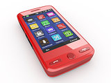 Red mobile phone. 3d