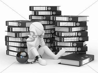Clerk in archive. Men with folders