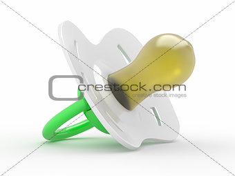 Baby's dummy on white isolated background. 3d