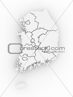 Three-dimensional map of Southern Korea.