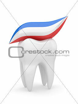 Tooth and tooth-paste. 3d