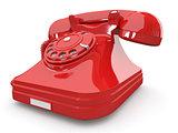 Old-fashioned phone on white isolated background