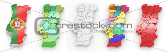 Three-dimensional map of Portugal on white isolated background.